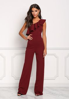 Made by Order PRE order 10 days before : choose the model > order > pay > making process please read the policies in Formal Jumpsuit, Wedding Jumpsuit, Ruffle Jumpsuit, Latest Outfits, Fashion Outfits, Jumpsuit Elegante, Fall Wedding Outfits, Burgundy Jumpsuit, Fiesta Outfit
