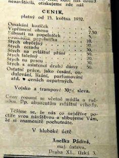 Za koľko TO robili ženy v minulosti: Ceník BORDELU z roku 1932! Jokes, Lol, Personalized Items, Retro, Funny, Adobe Photoshop, Mythology, Twitter, Google