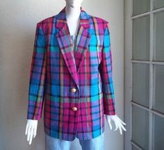 Vintage 80s Japan Slouchy Neon Plaid Linen Cotton Boyfriend Blazer Jacket Sz S M by funquejunque, $25.00