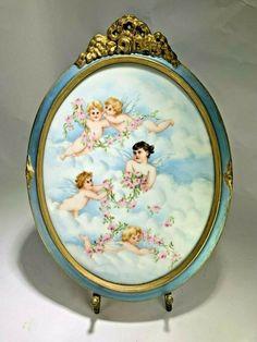 French Antique Oval Limoges Hand-painted Cherubs Angels Clouds Porcelain Plaque Angel Clouds, Romantic Scenes, Painting Cabinets, Porcelain Vase, Dresden, French Antiques, Hand Painted, Cherubs, Angels