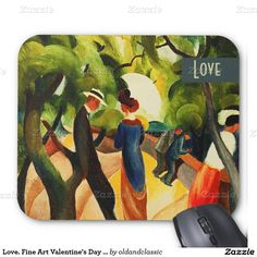 "Love. Fine Art Valentine's Day Gift Mousepads. Artist: August Macke. ""Promenade"". Oil Painting, circa 1913. Matching cards, postage stamps and other products available in the Holidays / Valentine's Day Category of the oldandclassic store at zazzle.com"