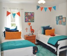 Awesome Images Of Blue And Orange Bedroom Design And Decoration : Awesome Kid Blue And Orange Bedroom Decoration Using Navy Blue Pleat Kid Bed Valance Including White Wood Twin Bed Frame And Light Blue Velvet Bedroom Rug