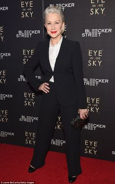 HBIC:Dame Helen Mirren suited up for the Manhattan premiere of Eye in the Sky at AMC Loew...
