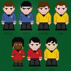 Star Trek Cross Stitch Characters, love the subtle differences ; Diy Embroidery, Cross Stitch Embroidery, Embroidery Patterns, Hama Beads, Cross Stitch Designs, Cross Stitch Patterns, Star Trek Cross Stitch, Stitch Character, Star Trek Characters
