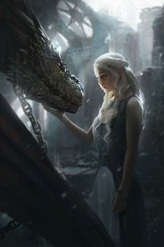 This is an interesting piece as its Dany with one of her dragons, but they're chained up, in a decrepit Red Keep