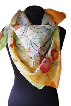 "Image of ""Apple"" hand-painted silk scarf by Asta Masiulyte"