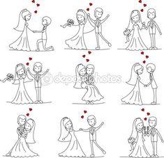 Novio y la novia de boda de dibujos animados — Vector de stock © virinaflora #13737445