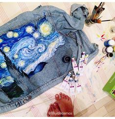 Van Gogh Starry Night painted denim jacket ( read the description). Custom jacket design hand painte Van Gogh Starry Night painted denim jacket ( read the description). Painted Vans, Hand Painted, Denim Kunst, Custom Denim Jackets, Painted Denim Jacket, Back Art, Painted Clothes, Fabric Painting, Paint Fabric