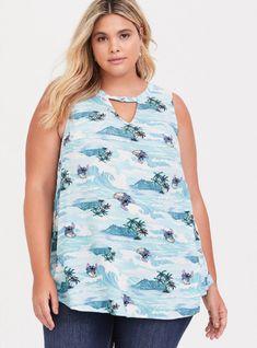 Disney Lilo & Stitch Surf Crepe Tank in Blue Plus Size Tank Tops, Crepe Fabric, Lilo And Stitch, Skater Dress, Torrid, New Dress, Floral Tops, Mini Skirts