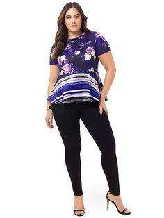 Peplum Top In Blue Floral by @eloquii, Available in sizes 14-24