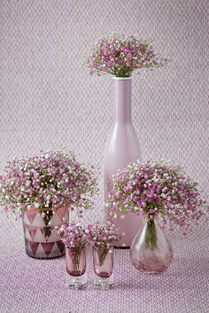 Pink baby's breath. Baby's breath can be bought in many colours but spay paint is cheaper and you can get more variety of colours.
