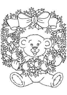A colorier, l'ours en peluche accroché la couronne de Noël