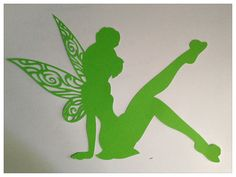 "Large 7"" Tinker Bell Filigree Die Cut Sitting Pose Disney Peter Pan Pixie Dust Party Center Piece Decoration Embellishment Scrapbook"