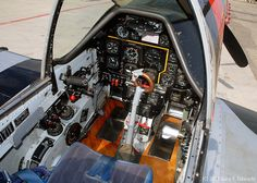 """Detail view of the cockpit of North American P-51D-25NA Mustang """"Man O' War""""; s/n 44-72739, N44727"""