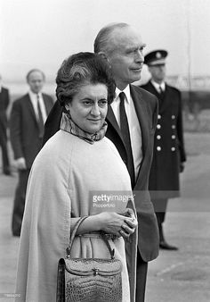 London, England, 29th October 1971, Indian Prime Minister Mrs, Indira Gandhi is greeted by British Foreign Secretary Sir Alec Douglas-Home as she arrives at Heathrow airport for Downing Street talks