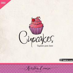 Premade Cupcake Logo Bakery logo Cake Logo by KirstenLouiseDesign