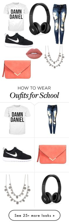 """""""School"""" by borghina on Polyvore featuring мода, NIKE, Beats by Dr. Dre, Givenchy и Lime Crime"""