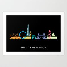 The City of London Art Print by Christopher Dina -  love this style - maybe could somehow incorporate Burbank landmarks into the BCT logo.