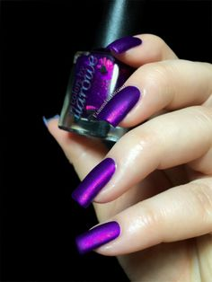 cbL Connie, You Saucy Minx is a medium purple crelly with an intense pink shimmer; mattified