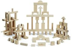 104 Pieces of Master Building Blocks provides hours of fun! Crafted from locally sourced, sustainably harvested maple hardwood Master Builder Set of Montgomery Schoolhouse building blocks contains 104 pieces in 21 different shapes