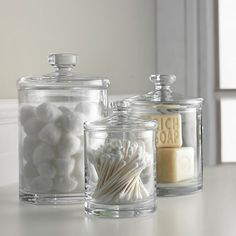 Glass Canisters Set of Three in Bath Accessories   Crate and Barrel