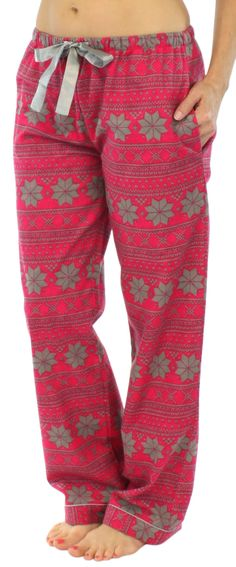 PajamaMania flannel pants are perfect for keeping you warm all winter long or for giving as a gift - 100% cotton flannel - Elastic waistband - Satin drawstring - Side pockets - Satin trim - Machine wa