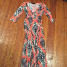 Multi colored maxi dress Beautiful orange maxi size small. Never been worn! Janette fashion  Dresses Maxi