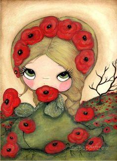 Poppy Art Print Girl Red Poppies Poppy Monger by thepoppytree,