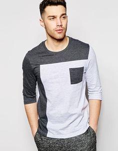ASOS - T-shirt à manches 3/4 et empiècement coupé-cousu