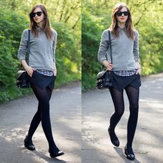 Barbora Ondrackova - Choies Skort, Choies Blouse, Choies Boots - THE BLACK SKORT