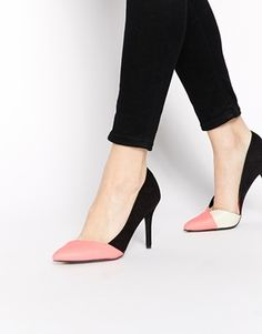Enlarge New Look Sol Coral Asymmetric Heeled Court Shoes