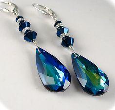 Bermuda Blue Peacock Crystal Earrings by AzureTreasures on Etsy, $48.00