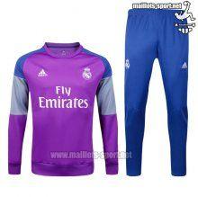 Ensemble Survetement De Foot Real Madrid Pourpre + Pantalon Bleu Coton 2016 2017 Nouveau :Maillots-Sport