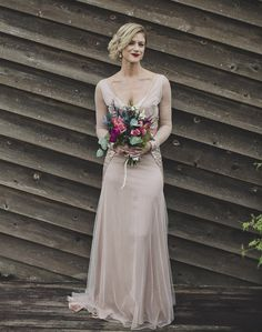 beautiful blush pink wedding dress with sequins
