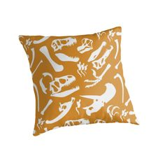 Dinosaur Bones (Gold) Pillow