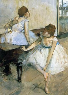 Edgar Degas - Dancers Resting  Degas was a French artist famous for his work in painting, sculpture, printmaking and drawing. He is regarded as one of the founders of Impressionism.