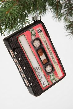 Glass mix tape ornament. #urbanoutfitters