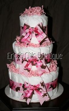 Baby Girl Pink Camouflage Camo Diaper Cake Shower Gift   eBay