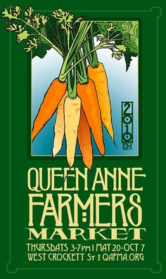 Queen Anne Farmer's Market Poster - Nice retro look signage... victorian sort of ?