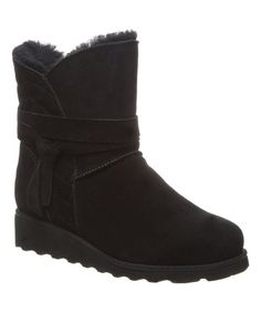 BEARPAW Black Maxine Suede Boot - Women | Zulily