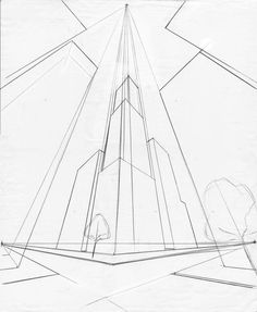Remember- in the one point and two point perspectives the viewer's line of sight is straight out to the… Perspective Drawing Lessons, Perspective Sketch, Three Point Perspective, Architecture Concept Drawings, Art Basics, Interior Design Sketches, Perspective Photography, Background Drawing, Landscape Drawings