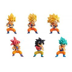 "Banpresto World Collectable Figure WCF Collection Figure - Set of 6 Pcs Super Saiyan Son Goku from ""Dragon Ball SUPER"". New Dragon, Dragon Ball Z, Xmas Presents, Son Goku, Super Saiyan, Bowser, Action Figures, Sons, Animation"