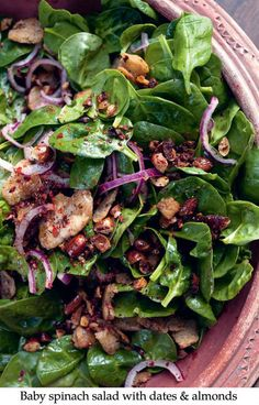 Baby spinach salad with dates & almonds from Yotam Ottolenghi's and Sami Tamimi's new cookbook JERUSALEM