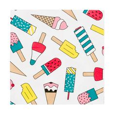 These napkins are perfect for decorating a summertime-themed birthday, a family BBQ or a garden party with friends! Size: x Please note: the napkins are only printed on one side. Contains 20 napkins. Design in France. Ice Cream Wedding, Ice Cream Party, Party Napkins, Napkins Set, Baby Shower Party Supplies, Baby Shower Parties, Baby Showers, Party Girlande, Popsicle Party