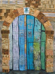 Tunisian Door, art quilt, by Margaret Ramsay 2010.  Machine pieced, digitally printed, hand painted, machine quilted.