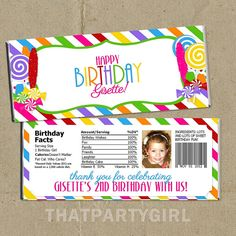 DIY Candy Shop Birthday Party Candy Bar Wrappers by thatpartygirl, $11.99