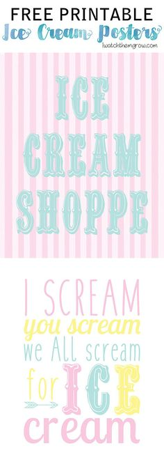 These ice cream posters will be perfect for my party!! I love the colors, so fun and dreamy! { free printable ice cream posters via iwatchthemgrow.com }