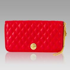 5f2beaaaa53d9  430.50+-+Valentino+Orlandi+Designer+Red+Chanel+Leather+Ziparound+Wallet+w  Chain+ 01VO0582CLRD + +Italian+Leather+Handbags
