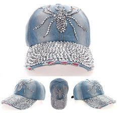 b0f97ed0cc4a0 FD2884 Rhinestone Spyder Studded Denim Peaked Baseball Hiphop Adjustable Hat