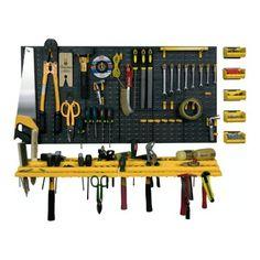 Garage Wall Tool Rack Workshop Storage Kit Plastic Pegboard 50 Hooks Shed Tidy for sale